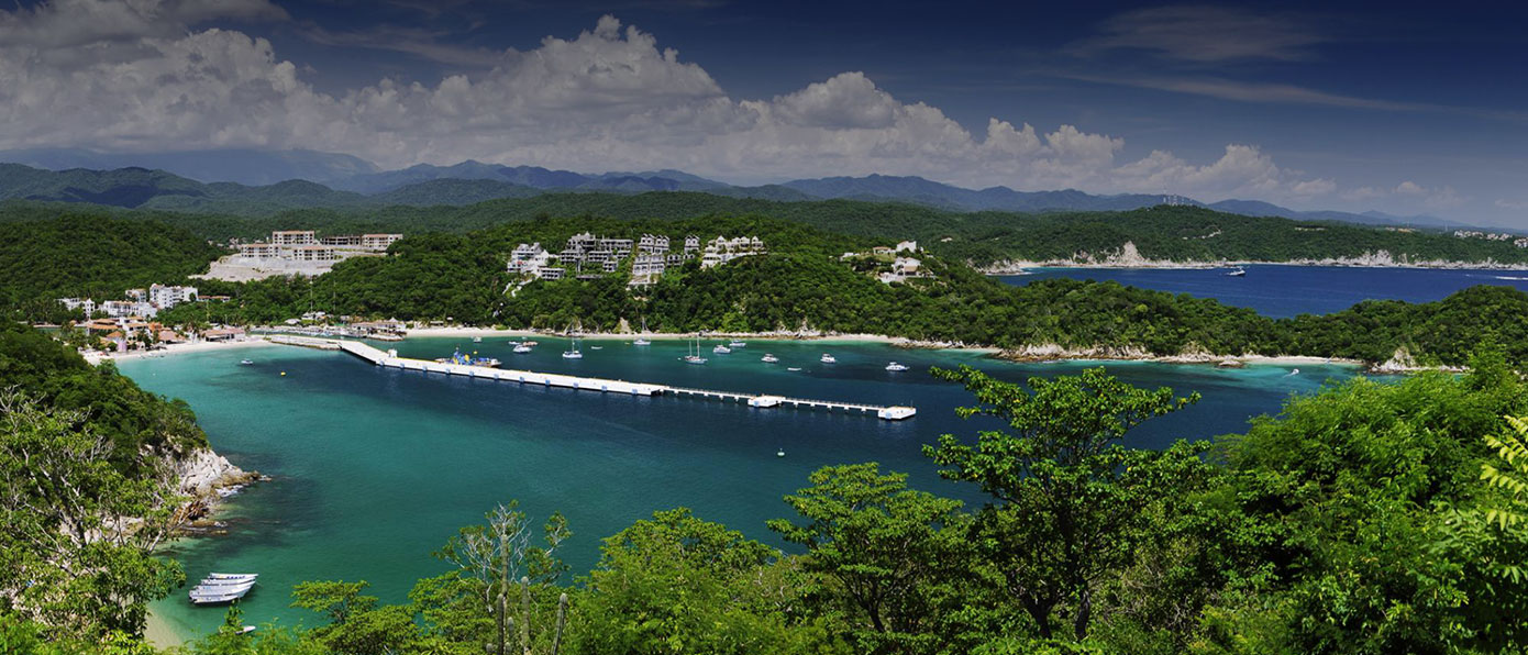 hotel, bay, bahia, huatulco, santa, cruz, beach, dock, cruise,